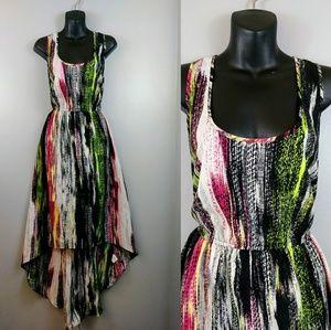 Love Fire abstract high/low summer maxi Dress xl
